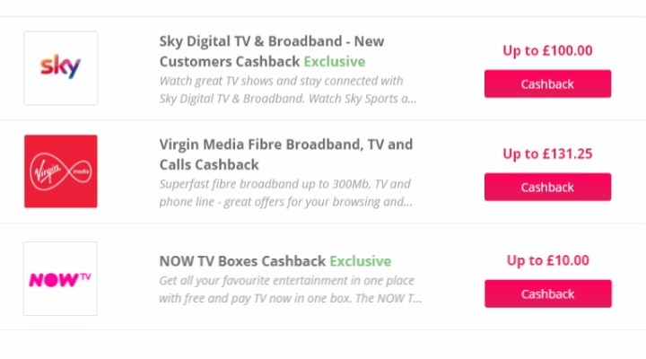 Cashback on TV packages