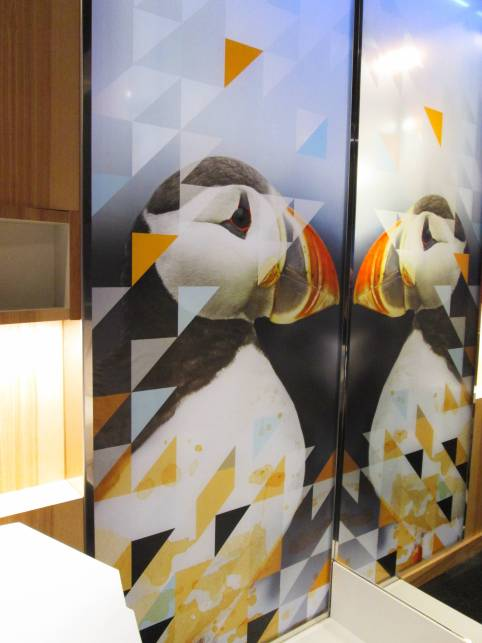 Alt Hotel St. John's Puffin Frosted Glass Wall | Modern Nan Travel Blog