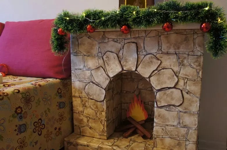 Self-stick with a pattern in the design of the fireplace
