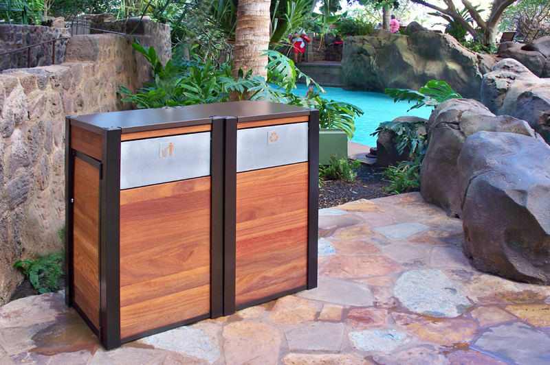 large wooden outdoor Recycling Bin and matching Trash Bin by DeepStream Design