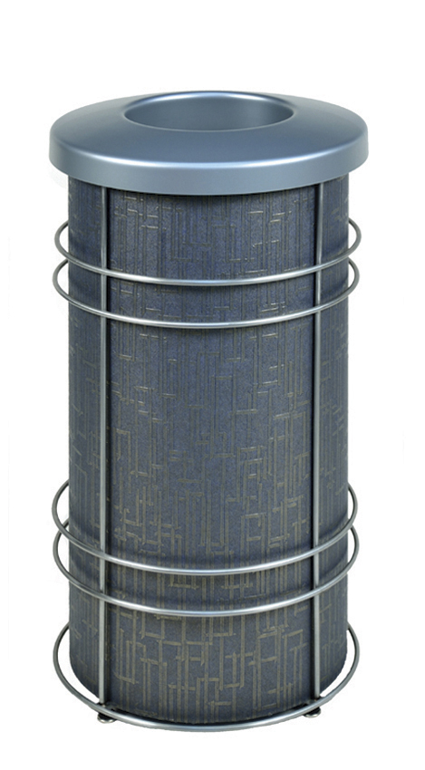 DeepStream Designs Chameleon Modern Trash Bin with Slate Blue and Gold Graphics