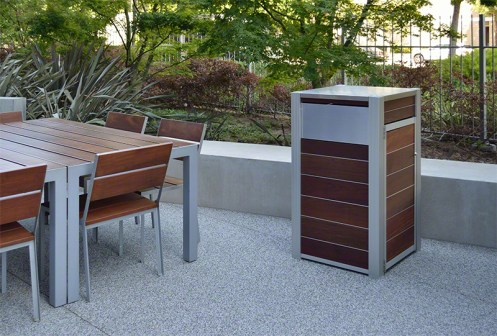 New Modern Wood Recycling and Trash Bins