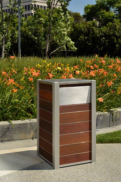 New Modern Wood Trash Receptacle