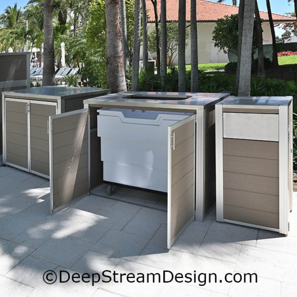 DeepStream custom fixtures an example of a used pool towel return cart cabinet made with recycled plastic lumber
