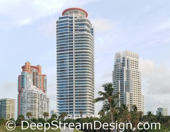 This iconic modern Miami Beach building selected DeepStreams' modern combination recycling and trash bins