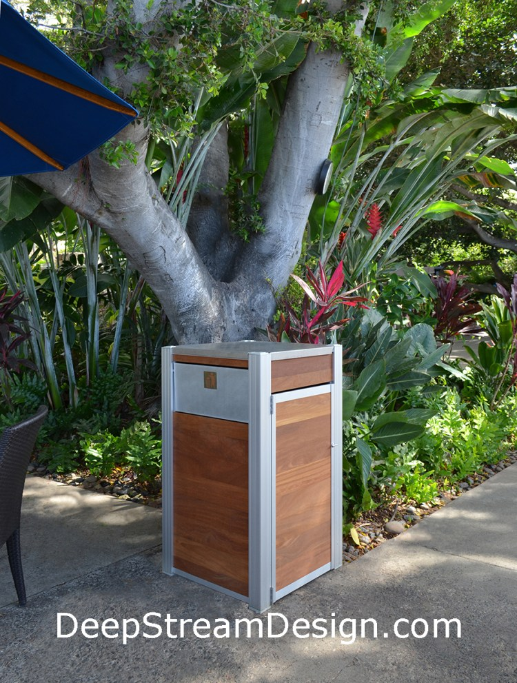 Modern Wood Trash Receptacle perfect for outdoor use as shown here in Hawaii