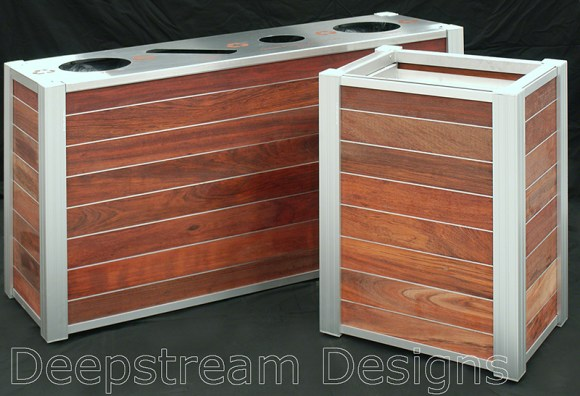 Modern Wood Trash Receptacle and Triple Stream Recycling Bins and Lunch Tray Cart Dispenser