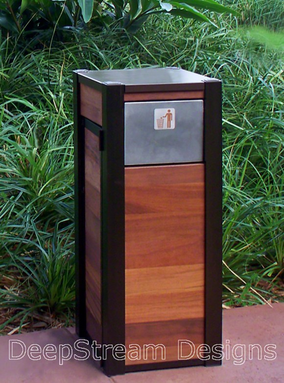 Example of a Beautiful Modern Wooden Trash Bin by DeepStream Designs at a Disney resort