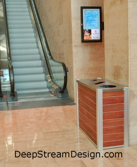 Example of a DeepStream triple stream commercial wooden Modern Recycling Bin in an office lobby