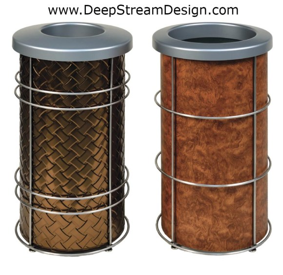 2 examples of modern round trash bins or recycling receptacles