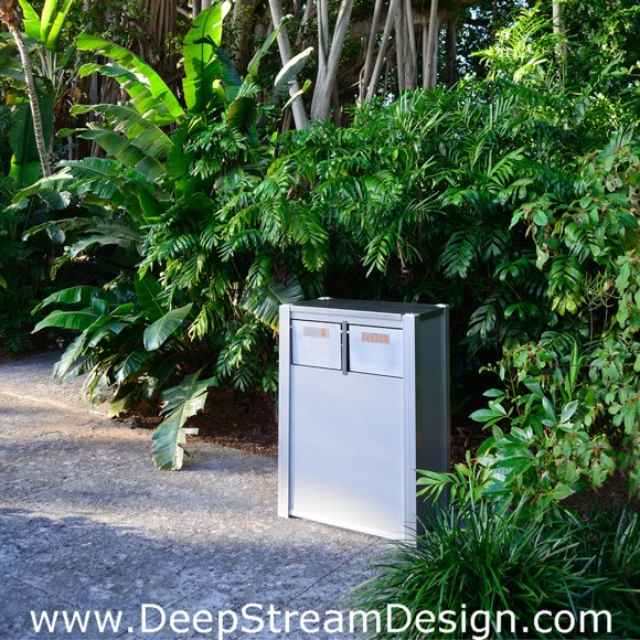 Example of a DeepStream's modern combination Recycling and Trash Receptacle in a tropical garden