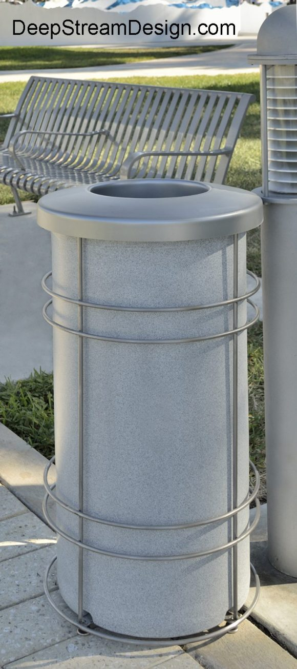 "DeepStream Designs' Nautique Modern Recycling and Trash Receptacles with a rugged weatherproof inner bin inside a stainless steel frame with adjustable feet housing a leak proof removable recycled plastic liner with a 9"" UV resistant polypropylene lid"