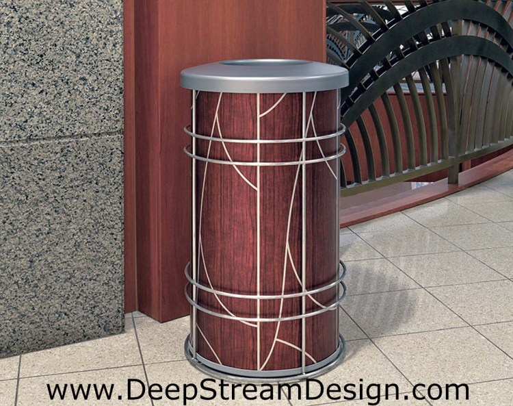 "DeepStream Designs Chameleon Trash Bin with ""Tree"" Graphics at Adventura Hospital"