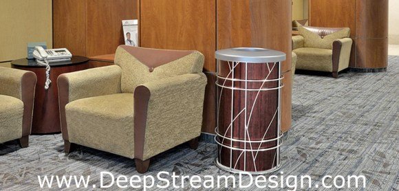 "DeepStream Designs Chameleon Modern Trash Bin with ""Tree"" Graphics at Adventura Hospital in a lounge"
