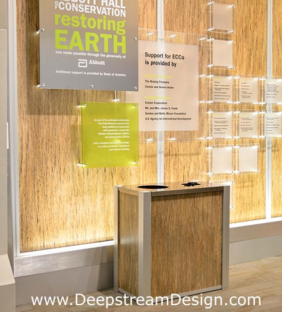 DeepStream 3form Bear Grass Double Modern Recycle Bin at the Chicago Field Museum environmental exhibit