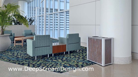 DeepStream modern combination recycling receptacle and trash bin with 3form Varia Thatch resin panels in an airport seating area