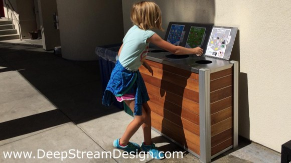 DeepStream modern wood multi stream recycling bin with weatherproof cover outside at a school