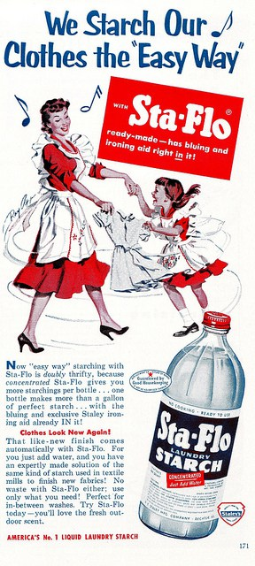 """Sta-Flo Starch advertisement; """"Good Housekeeping"""" April 1953; Image courtesy of SaltyCotton on Flickr.com"""