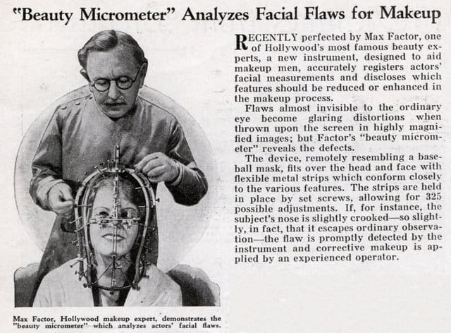 """Beauty Micrometer"" Analyzes Facial Flaws for Makeup (Modern Mechanix, January, 1935); Image courtesy of ModernMechanix.com"
