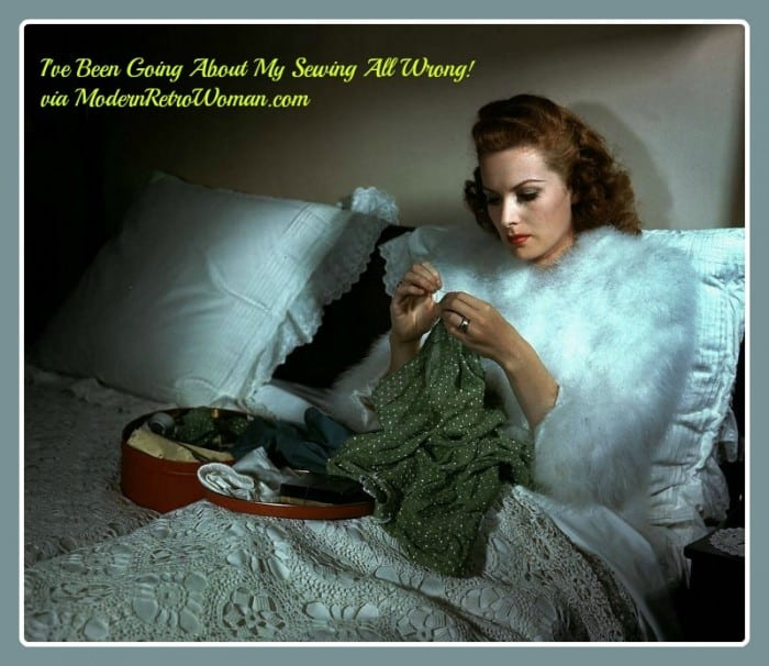 Actress Maureen O'Hara at her home reclining in bed while sewing, 1946; Image courtesy of Christine on Flickr.com