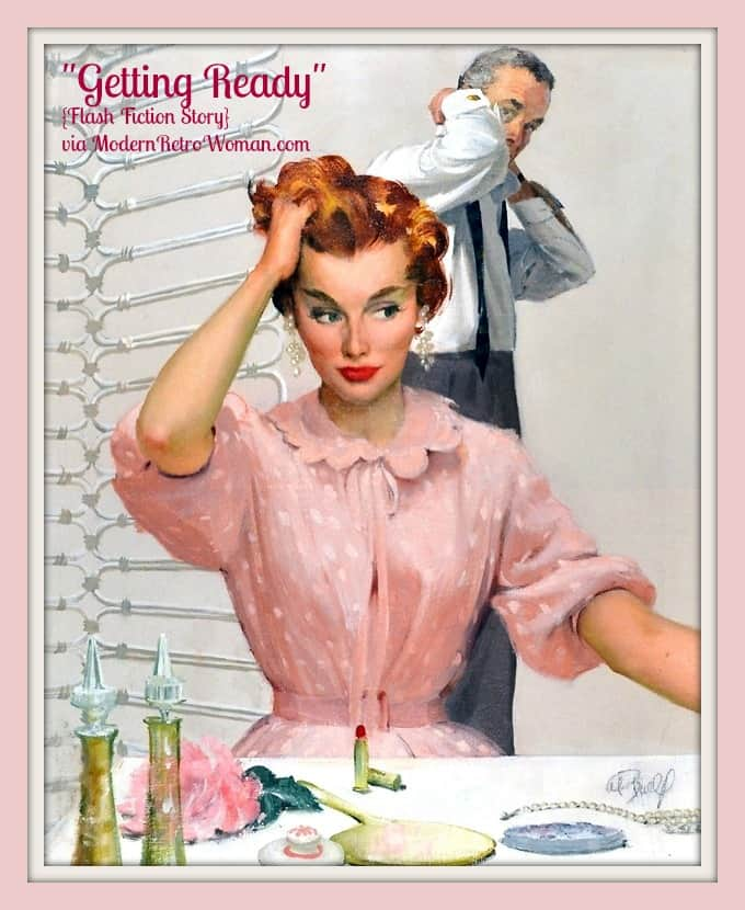 """Al Buell image of woman and man dressing; Inspiration for """"Getting Ready"""" ModernRetroWomancom"""