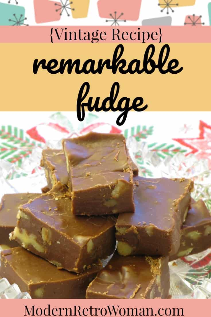 This vintage recipe for Remarkable Fudge lives up to its name. It is ideal for holiday gift giving or taking to the office party.