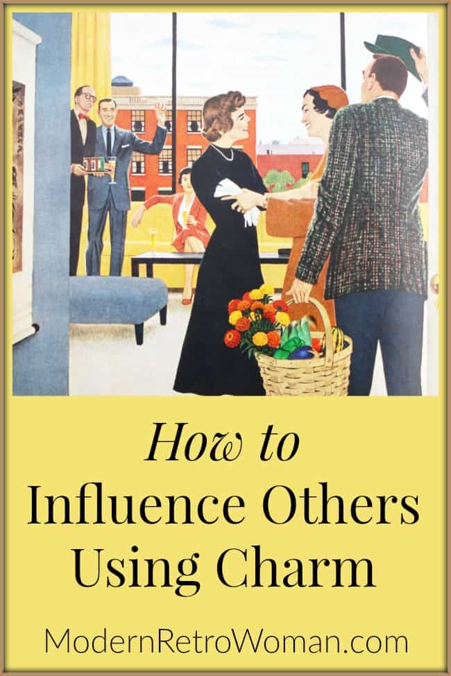 Image of people greeting each other for the How to Influence Others Using Charm blog post on ModernRetroWoman.com