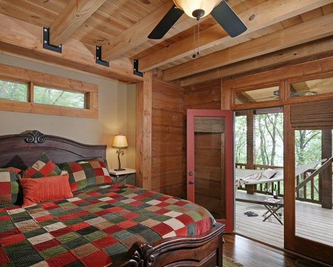 bumpout behind the headboard increased the room's size by 20 square feet