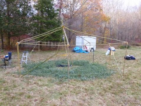 The yurt's bamboo frame.