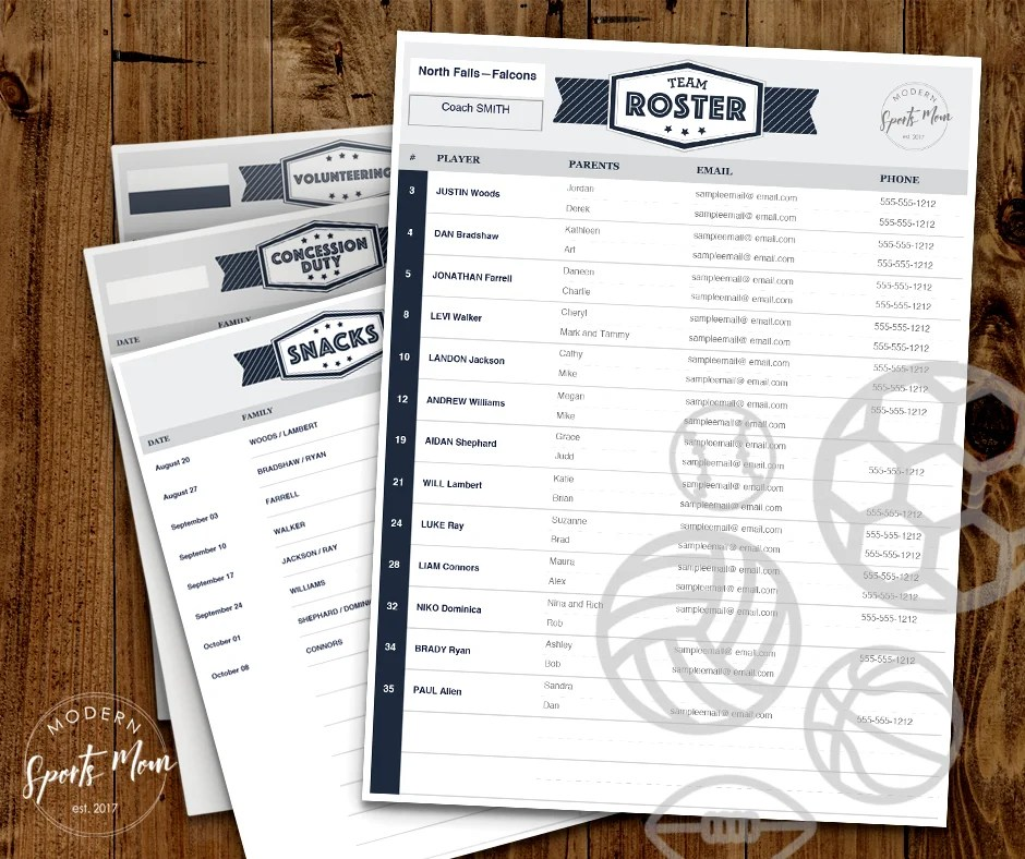 Team Mom Printables