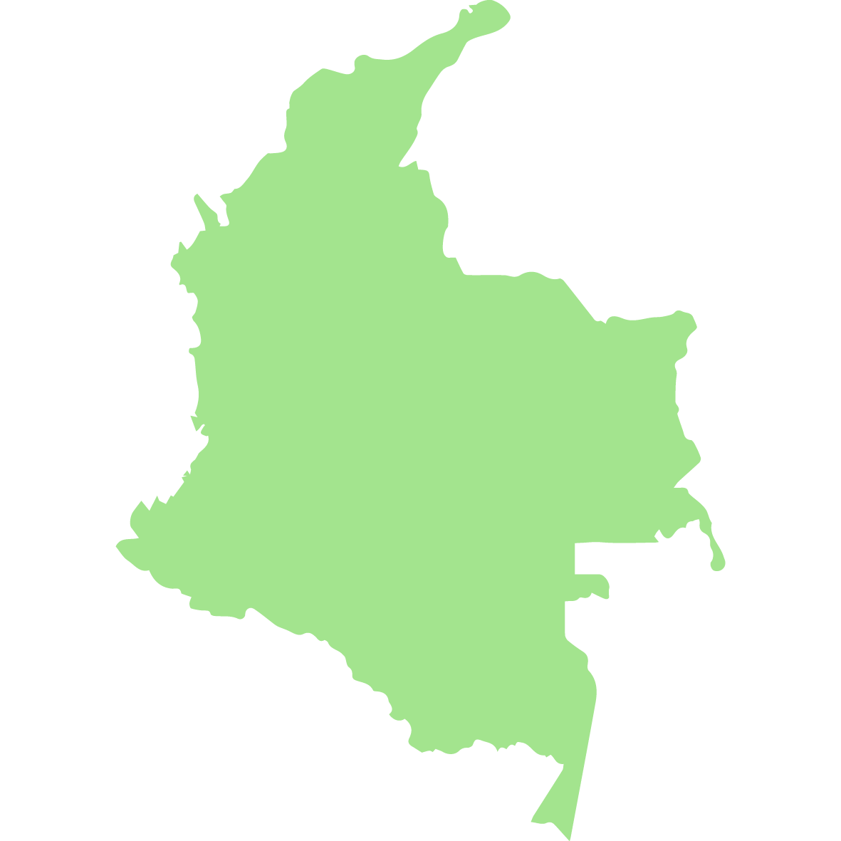 Colombia country outline green modern standard coffee