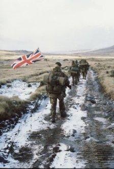 The famous 'yomp' across the Falklands.