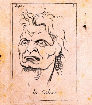 V0009398 A frontal outline and a profile of faces expressing anger. E Credit: Wellcome Library, London. Wellcome Images images@wellcome.ac.uk http://wellcomeimages.org A frontal outline and a profile of faces expressing anger. Etching by B. Picart, 1713, after C. Le Brun. 1713 By: Charles Le Brunafter: Bernard PicartPublished: [1713] Copyrighted work available under Creative Commons Attribution only licence CC BY 4.0 http://creativecommons.org/licenses/by/4.0/