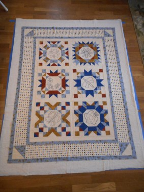 Quilt top smoothed over batting