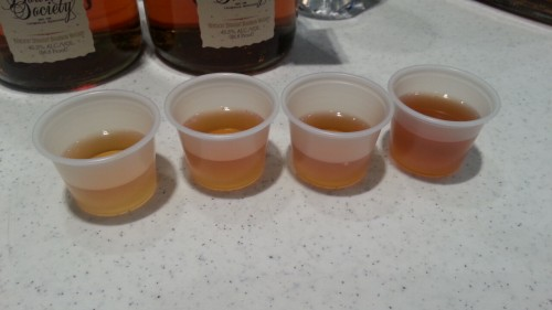 plastic cup bourbon flight