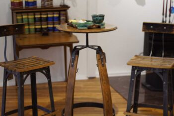 Bar furniture from bourbon barrel staves
