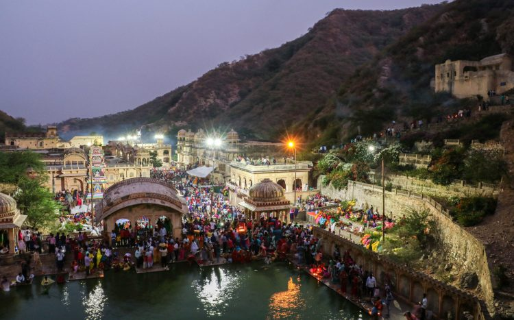 A huge festival going on hidden in the hills of Jaipur