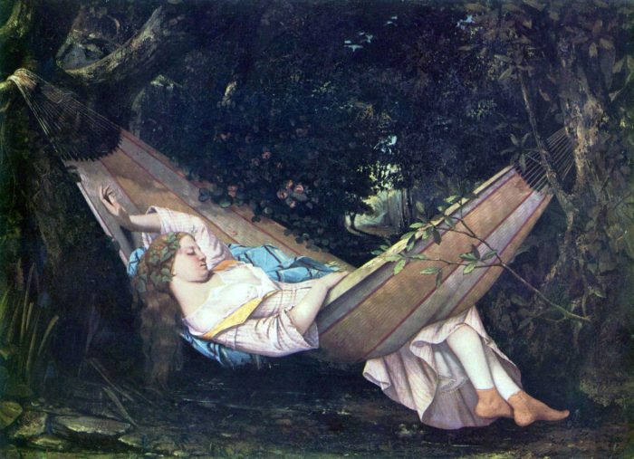 The Hammock, painted in 1844 by Gustave Courbet
