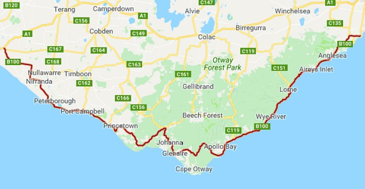 Great Ocean Road Walk map