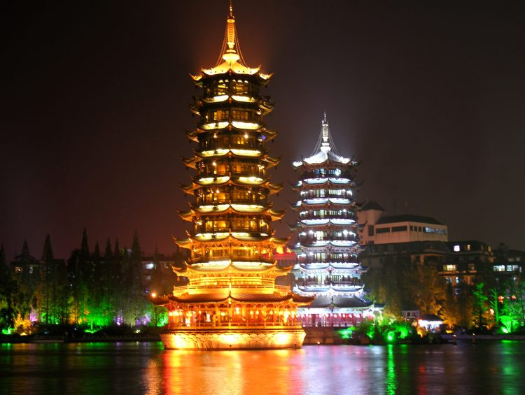 Sun and Moon Towers in Guilin