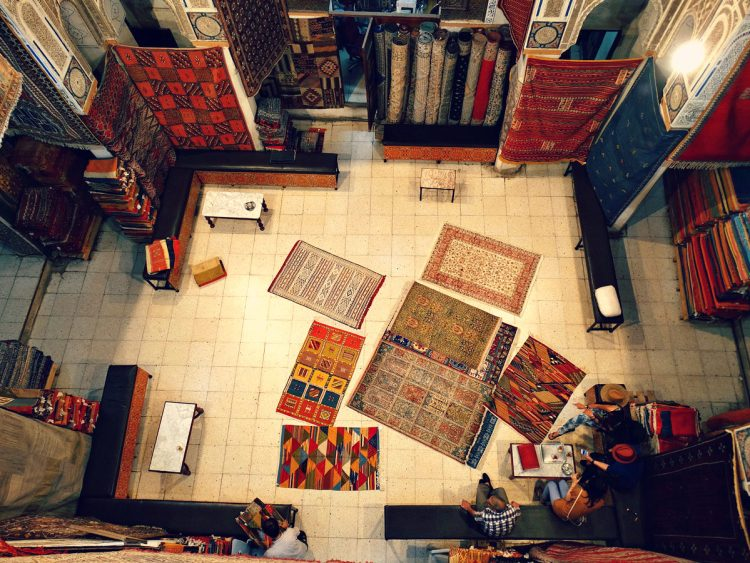 Carpet shop in the old medina of Fes, Female Solo Travel To Morocco