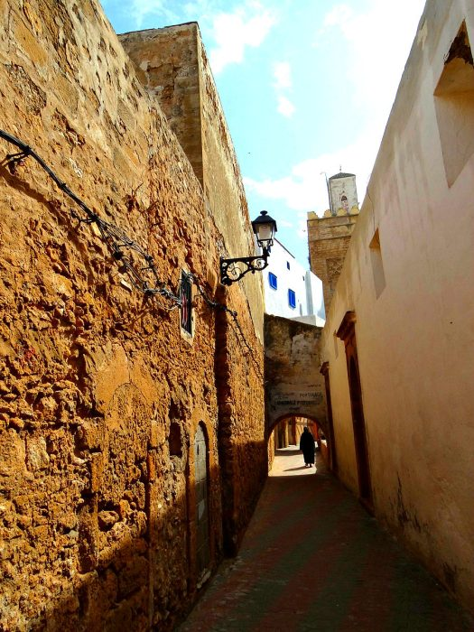 Narrow streets in the medina of Safi small town
