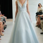 Light blue v-neck tulle and silk ball gown with silver beading detail