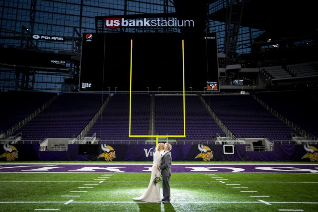 purple stadium wedding