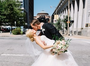 romantic downtown wedding