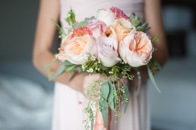 rustic peach wedding