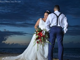 red beach wedding