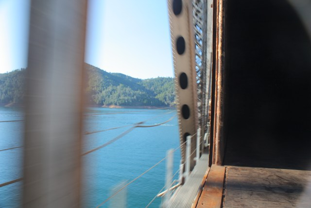 Union Pacific freight train passes over the Shasta Lake bridge.