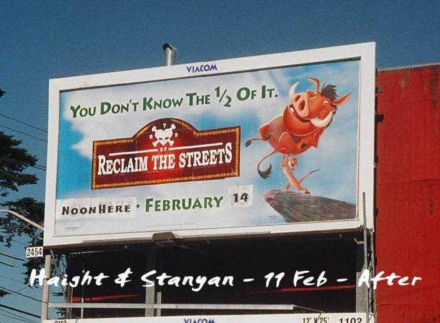 Adventure Club training included billboard libration as part of support for San Francisco's Reclaim the Streets