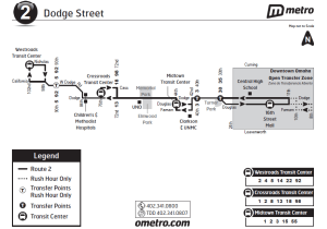 Map of route 1 - Omaha's most used transit route. New map is clear and simple